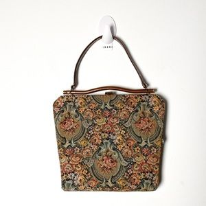 Vintage 60s Embroidered Floral Tapestry Purse
